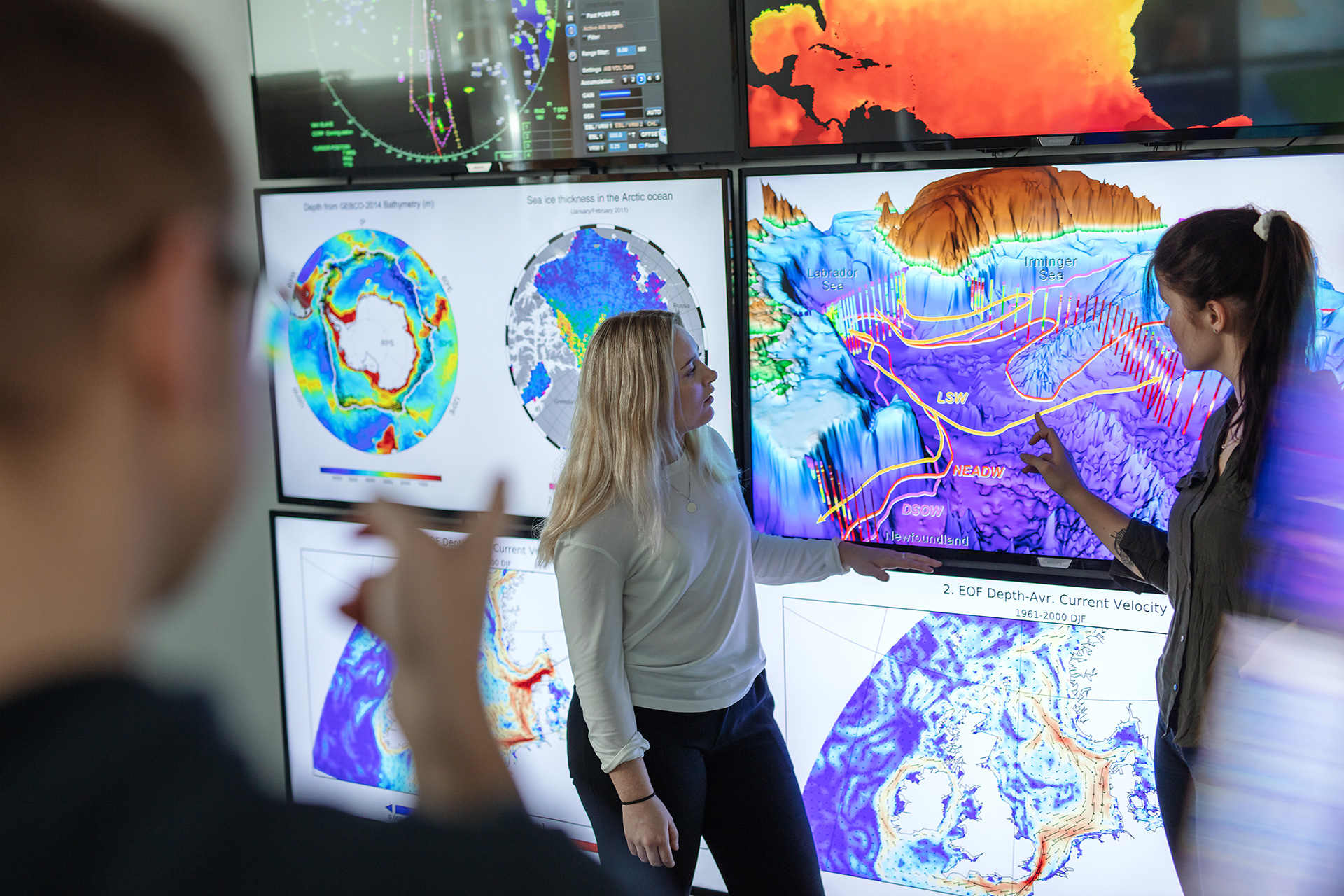 Image of stuents in a weather center
